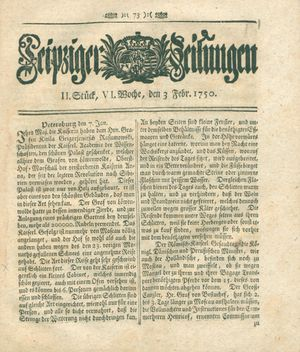 Leipziger Zeitungen vom 03.02.1750