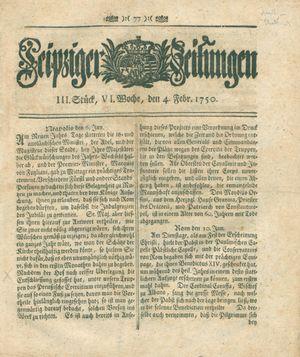 Leipziger Zeitungen vom 04.02.1750