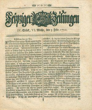 Leipziger Zeitungen vom 05.02.1750