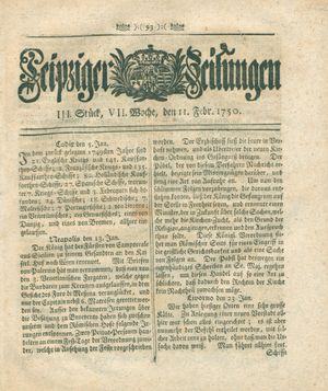 Leipziger Zeitungen vom 11.02.1750
