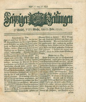 Leipziger Zeitungen vom 17.02.1750
