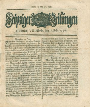 Leipziger Zeitungen vom 18.02.1750