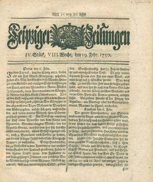 Leipziger Zeitungen vom 19.02.1750