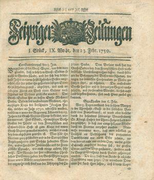 Leipziger Zeitungen vom 23.02.1750