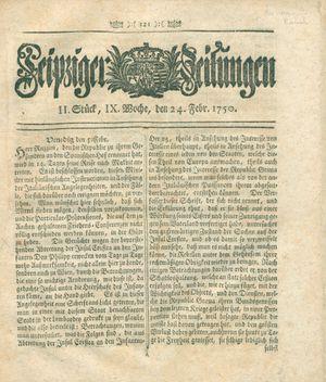 Leipziger Zeitungen vom 24.02.1750