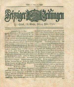 Leipziger Zeitungen vom 25.02.1750