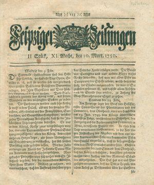 Leipziger Zeitungen vom 10.03.1750