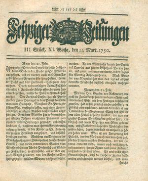 Leipziger Zeitungen vom 11.03.1750