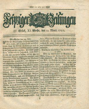 Leipziger Zeitungen vom 12.03.1750