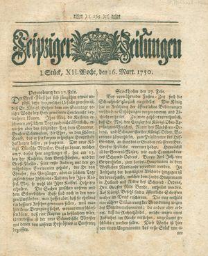 Leipziger Zeitungen vom 16.03.1750