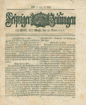 Leipziger Zeitungen vom 18.03.1750