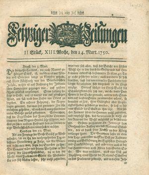 Leipziger Zeitungen vom 24.03.1750