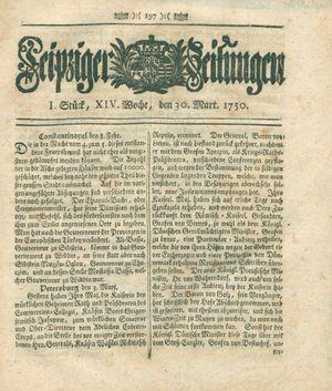 Leipziger Zeitungen vom 30.03.1750