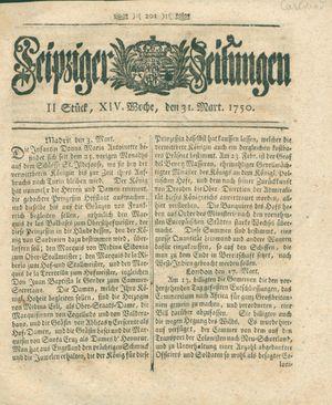 Leipziger Zeitungen vom 31.03.1750