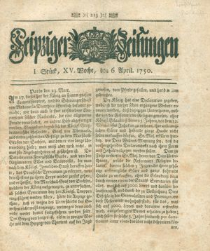 Leipziger Zeitungen vom 06.04.1750