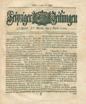 Leipziger Zeitungen vom 08.04.1750