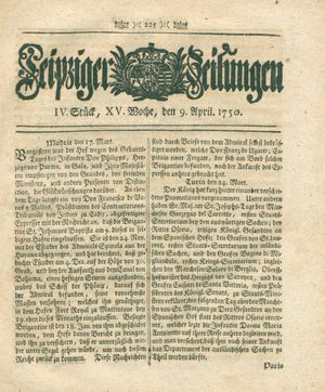 Leipziger Zeitungen vom 09.04.1750