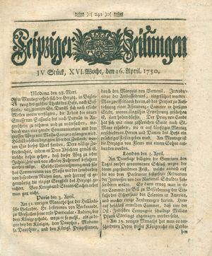 Leipziger Zeitungen vom 16.04.1750