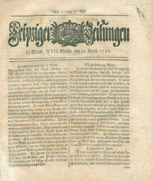 Leipziger Zeitungen vom 21.04.1750