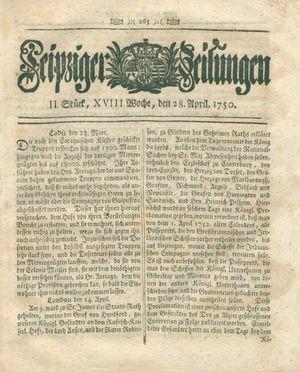 Leipziger Zeitungen vom 28.04.1750