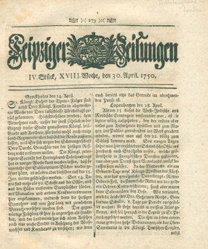 Leipziger Zeitungen vom 30.04.1750