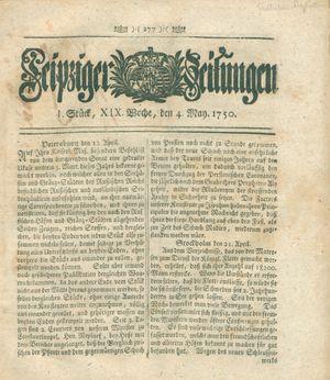 Leipziger Zeitungen vom 04.05.1750