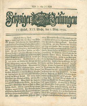 Leipziger Zeitungen vom 07.05.1750