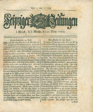 Leipziger Zeitungen vom 11.05.1750