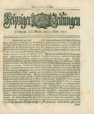 Leipziger Zeitungen vom 12.05.1750
