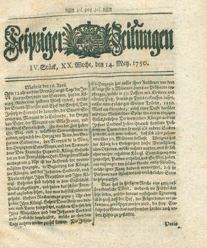 Leipziger Zeitungen on May 14, 1750