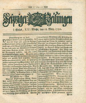 Leipziger Zeitungen vom 18.05.1750
