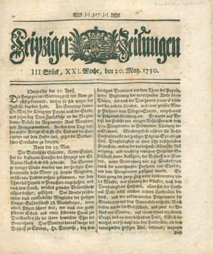 Leipziger Zeitungen vom 20.05.1750