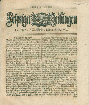 Leipziger Zeitungen vom 21.05.1750