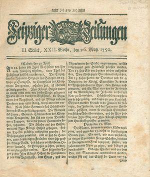 Leipziger Zeitungen vom 26.05.1750