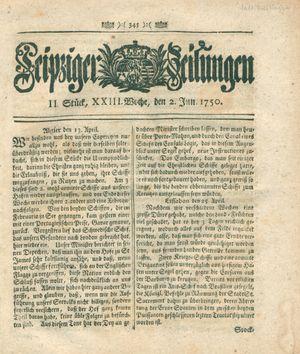 Leipziger Zeitungen vom 02.06.1750