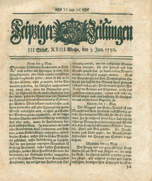 Leipziger Zeitungen vom 03.06.1750