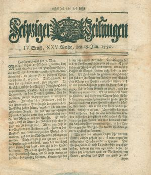 Leipziger Zeitungen vom 18.06.1750
