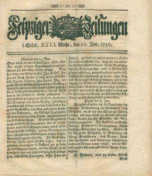 Leipziger Zeitungen on Jun 22, 1750
