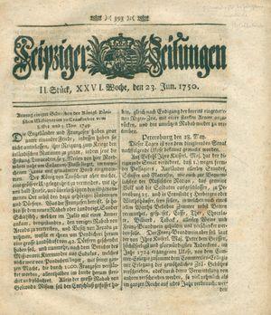 Leipziger Zeitungen vom 23.06.1750