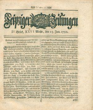 Leipziger Zeitungen vom 25.06.1750