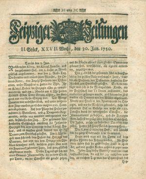 Leipziger Zeitungen vom 30.06.1750