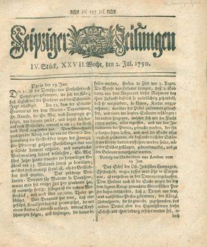 Leipziger Zeitungen vom 02.07.1750