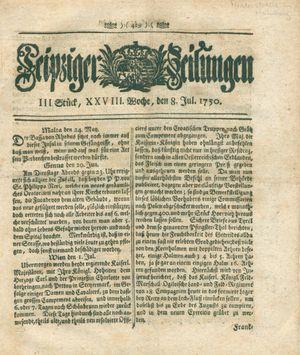 Leipziger Zeitungen vom 08.07.1750