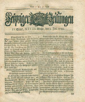 Leipziger Zeitungen vom 09.07.1750