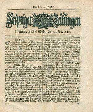 Leipziger Zeitungen vom 14.07.1750