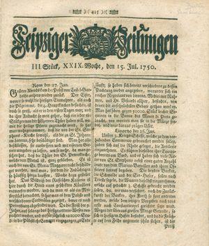 Leipziger Zeitungen vom 15.07.1750