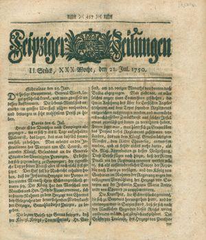 Leipziger Zeitungen vom 21.07.1750