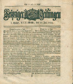 Leipziger Zeitungen vom 27.07.1750