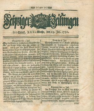 Leipziger Zeitungen vom 29.07.1750