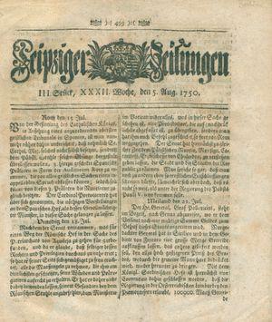 Leipziger Zeitungen on Aug 5, 1750
